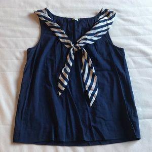 Navy Blue Sailor Sleeveless Blouse
